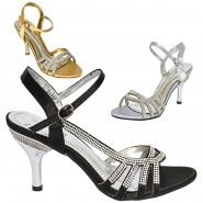 Flora strappy satin diamante party prom sandals
