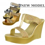 Tonia high heeled diamante summer wedge sandal