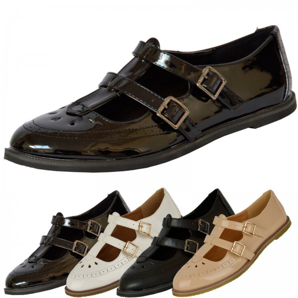 Crys 2 Strap T Bar Flat Office Shoes