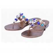Celie Flat diamante jewel evening party sandal