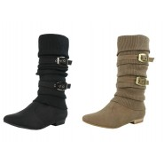 Freda Knitted strappy flat mid-calf boots