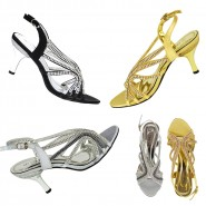 Cori mid heeled sling-back diamante party sandals