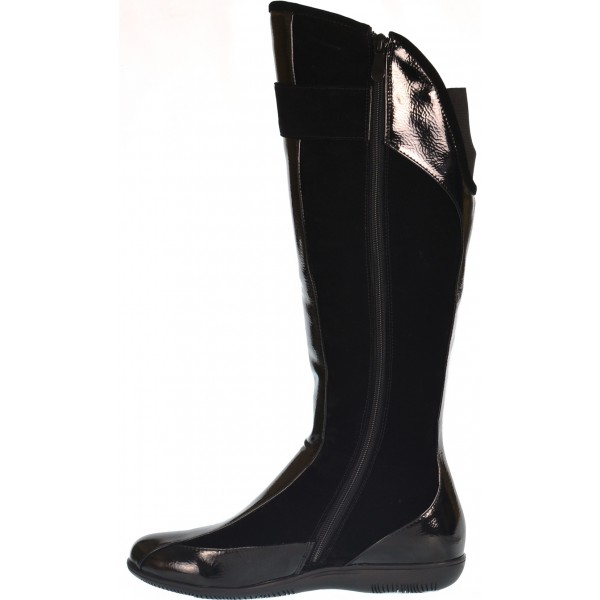 c1c564c9a Lolita black patent flat riding boot - shuboo