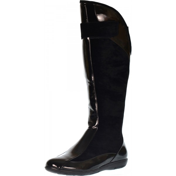 7d0e5087a22 Lolita black patent flat riding boot - shuboo
