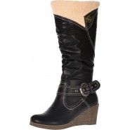 Dori mid-heeled wedge riding boots