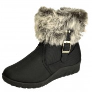 Gracey winter fur low wedge ankle boot