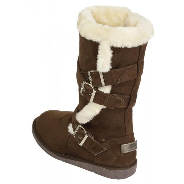 af3c0421d08f Boco Ladies flat heel fur lined winter boots - shuboo