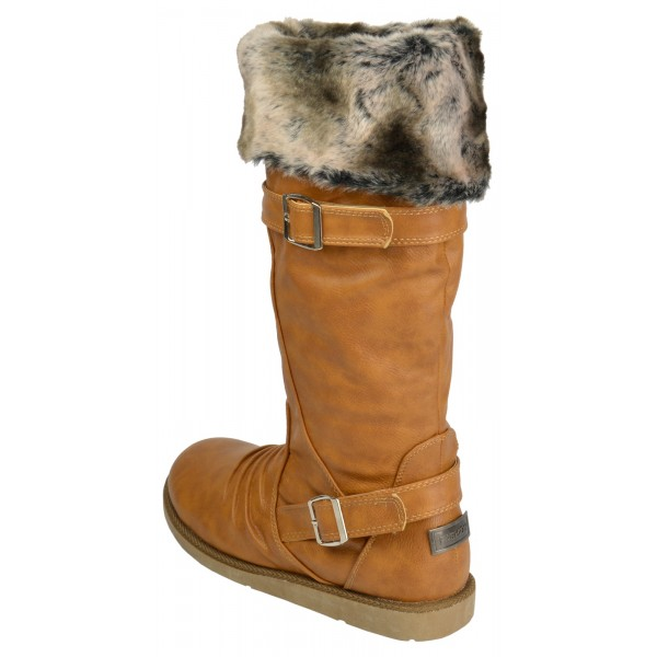 016e6ca03f2 Lulu Mid calf wide fitting fur lined riding boot - shuboo
