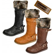 Lulu Mid calf wide fitting fur lined riding boot