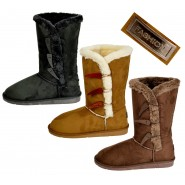 Bonita flat mid calf 3 button fur lined winter boots
