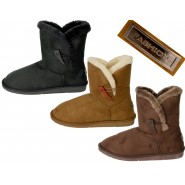 Lonie flat heel one button winter snug boot