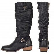 Clarissa mid-calf low heeled biker boot