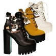 Ladies Chunky Platform Ankle Boot Womens Lace Up Twin Buckle Casual Party Shoe