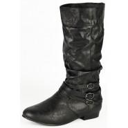 Lessie Mid-calf flat biker boot
