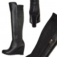 Chatty mid heeled wedge riding boot