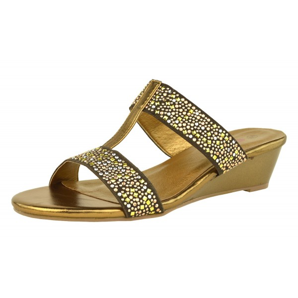Ana Diamante Jewelled Wedge Sandal Slip On Low Wedge Shuboo