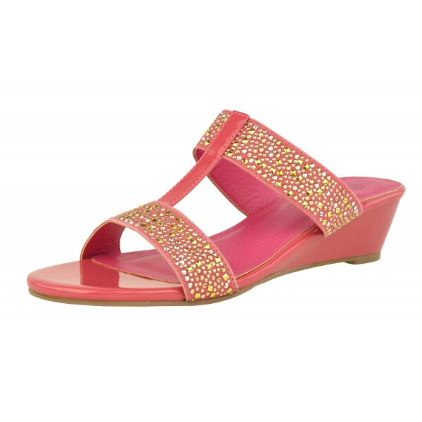 Ana Diamante Jewelled Wedge Sandal Slip On Low Wedge Shuboo