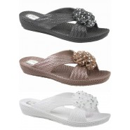 Nikki flat slip on flower jelly sandal