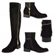 Sandra zip detail low heeled riding boot