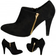 Coleen mid heeled gold zip chelsea ankle boot