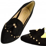 Denny flat casual gold studded tassel shoes