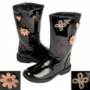 Violet kids flat mid calf flower boots black