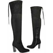 Womens over the knee boots ladies thigh high stretch block heel zip party boots