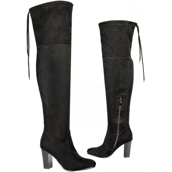 fc34c389c46 Womens over the knee boots ladies thigh high stretch block heel zip ...