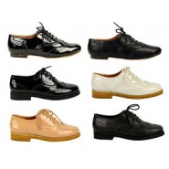 Ladies Brogues Flat Pumps Casual Girls Vintage Retro Brogue Lace-up Shoes 3-8