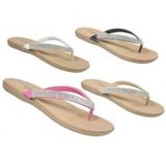 womens flat toe post diamante sandals ladies summer beach flip flop shoes 3-8