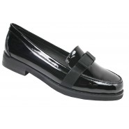WOMENS LOAFERS LADIES FLAT CASUAL WORK OFFICE SCHOOL BOW PUMPS SHOES 3-8