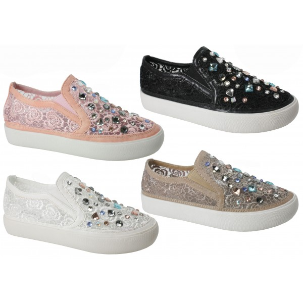 Womens Trainers Synthetic Leather Slip on Plimsolls Sneakers Flat Shoes Pumps