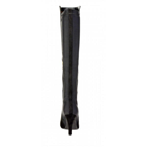 f736c1070af8 womens knee high boots ladies party stretch zip high heel winter riding  boots ...
