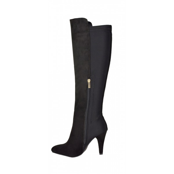 73c70d4ba631 ... womens knee high boots ladies party stretch zip high heel winter riding  boots ...