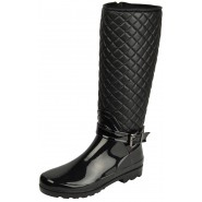Ina knee high quilted wellington boots Stretch upper