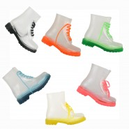 Funky flat clear festival jelly ankle wellies boots