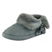 Rose fur lined luxury slipper bootie