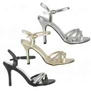Pearl high heeled strappy sandals