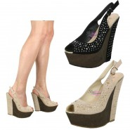 Aaliyah High heeled diamante wedge shoe