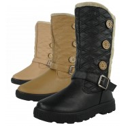 Alicia flat quilted 3 button snow boots