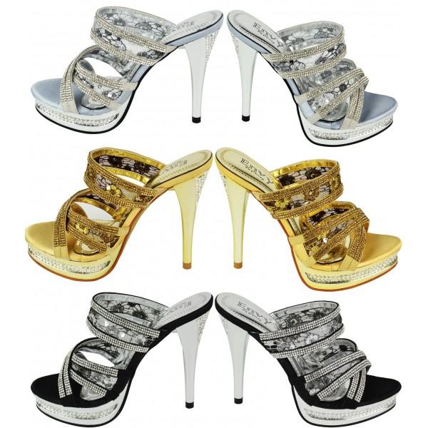 Edna Diamante Party Sandals Heels Shuboo