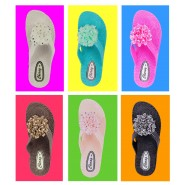 Lucy flat jelly wedge diamante flower sandal